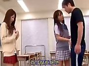 2 schoolgirls seduce a guy