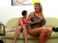 Mature model fucking on leather couch