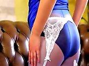 Purple nylons and incredibly hot panties