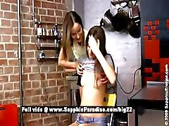 Mika and Ashlie astonished lesbian babes licking