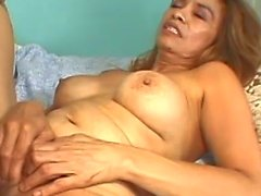 Horny granny getting pussy worked out while rubbing her old clit