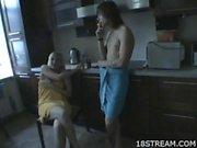 Erotic bathroom blowjob