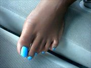 Maya Siver And Blue Toenails