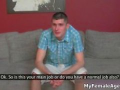 Guy gets horny in an interview in the