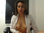 Big boobs babe toying with herself at home