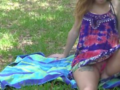 Outdoor Vibrator Tease and Fucking in a Sundress - SexxxArchitect