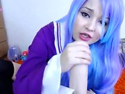 Beautiful Blue Haired Teen with Big Boobs Rides Dildo on Cam