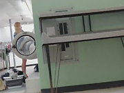 Laundry Creep Shots upskirt blonde sniffing panties