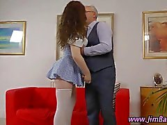 Teen British amateur in stockings gets her pussy slammed