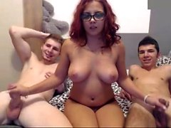 British redhead amateur gangbang with her friend