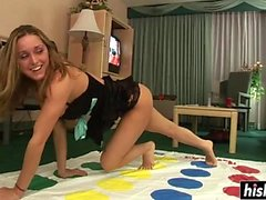 Blonde enjoys softcore twister action