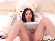Solo Pussy Masturbation of Sweet Pretty Brunette Babe