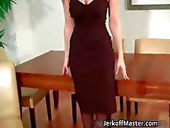 Sexy blonde MILF is stripping