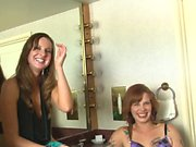 Sensual lesbian action using strapon sex toys