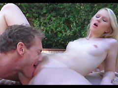 Crushing Blonde Teen Pussy By The Pool
