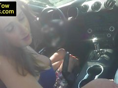 Busty amateur drilled in sporty convertible