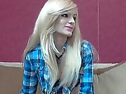 Hot blonde on cam stripteasing and shows her limited off