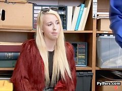 Perky blonde caught and fucked at LP office