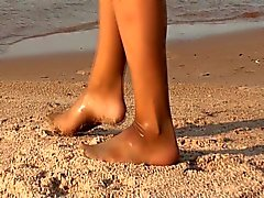 My Pantyhose Girlfriend See Through on the Beach