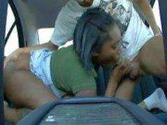Fat ass ebony stuffed in a car