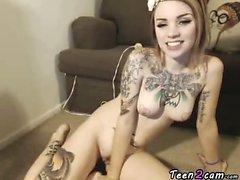 Sweet tattooed lady masturbates