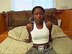 Ebony hooker rides white schlong