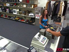 Busty tattooed babe banged by pawn dude