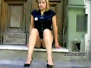 Blonde white panty upskirt latina in public display of ass