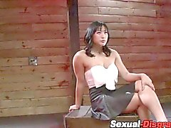 Bound Asian gags on a cock real hard