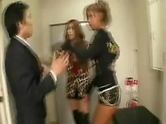 Kinky guy has two sensuous Japanese mistresses pleasing his