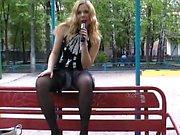 Blonde exciting outdoor masturbation