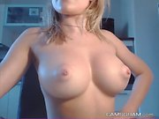 Cute Stand-Up-Boobied Camgirl Playing Herself On Cam
