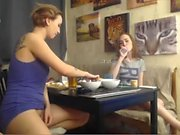 Blonde and redhead lesbian play