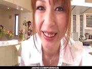 Nothing like a big dick to please cock sucking Araki Hitomi