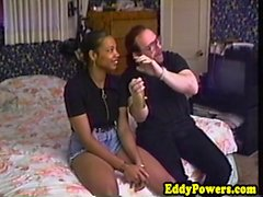 Classic ebony amateur jumping on dick that is hard