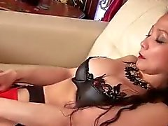 Oriental cougar Kim in sexy outfit masturbating