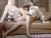 Clothed stocking babes licking
