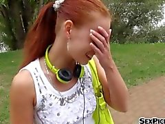 Czech girl Minnie Manga fucked in public for a chunk of cash