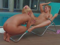 Orsolya Acs o & Dalma Albert risk it all by the pool