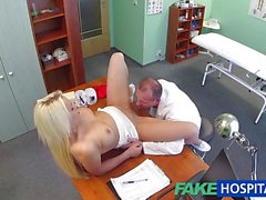 Doctor slides his cock into sexy blonde teen