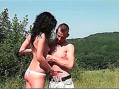 Nasty brunette MILF blows boner outdoor part1