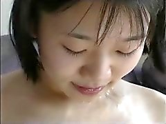 Chinese Girl happy with three white dicks