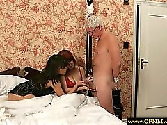 CFNM femdoms sucking old man and humiliating