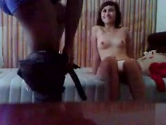 Latina handjob petite amateur jerks dick on the couch