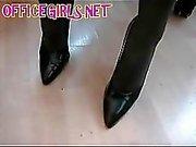 BBW British Blonde Secretary Fingers Her Cunt Through Her Pantyho