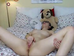 Brunette toys her ass on webcam
