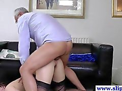 Old euro guy and wife in threeway ffm