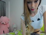 Hot Nerd lingerie teen with a hairy pussy on webcam