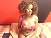 Ebony beauty teases and shows off her pink pussy on webcam