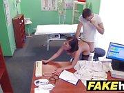 Fake Hospital Czech doctor cums over hot brunette